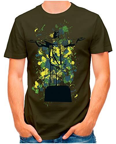 OM3® - Cristo-Redentor-Arts - T-Shirt | Herren | Brazil Rio Aquarell Style Printshirt | Oliv, 4XL -