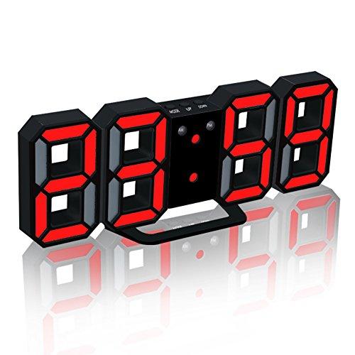 EAAGD Digital-LED-Wecker & Wanduhr, automatisch LED Helligkeit einstellen (schwarz/rote)