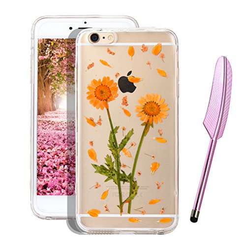 Vioela Schöne Real Pressed Flower Case,Ultra Dünn Weich Silikon Hülle für iPhone 6 6s, Klar Kristall 3D Elegant Dried Flowers Blumen Protektiv Case Tasche Schutz Etui für iPhone 6 6s 4.7 Zoll mit Free # 6