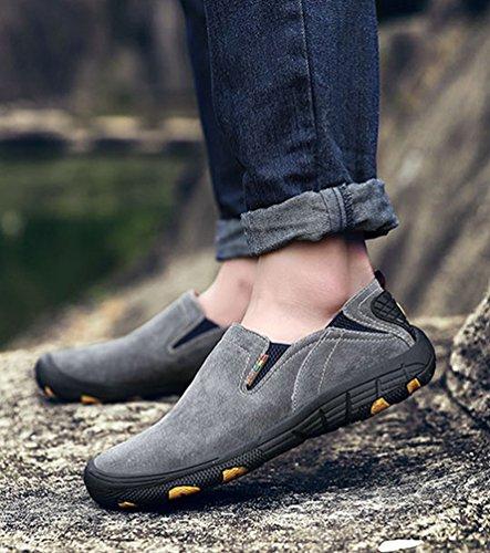 Zapatillas En Podía Mocasines top Resbalón Moda Bajo Deporte De Hombre De Del Casuales Grises Zapatos Cuero Yiiquan Costuras g4qBWYwxnZ