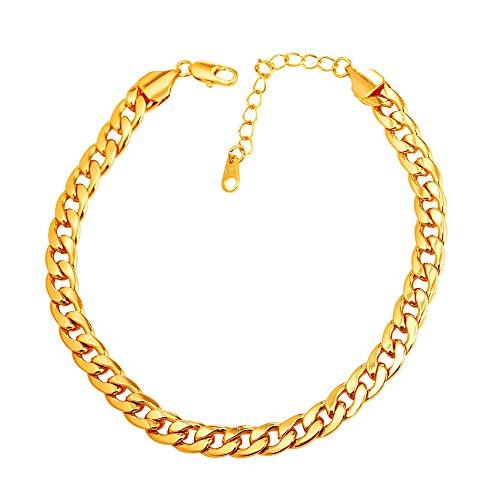U7 Damen Fußkette Armband Panzerkette Fußkettchen 18k vergoldet Sommer Fußbändchen Mode Strand