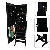 Todeco - Mueble para Joyas con Espejo, Organizador con Espejo, Soporte de suelo, Material: MDF,...