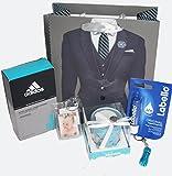 110053 Geschenktasche für Ihn - eine Aufmerksamkeit, kleines Dankeschön für einen besonderen Menschen mit Parfum Adidas Schutzengel Teelicht Labello Foto Schlüsselanhänger Minitaschenlampe in Tasche verpackt