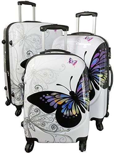 Kofferset Hartschale 3tlg Design Schmetterling integriertes Zahlenschloß Dehnfalte Trendyshop365