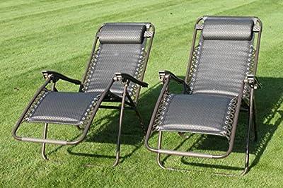GARNITUR mit 2 gepolsterten Sonnenstühlen in wasserfestem Textiline-Gewebe, inklusive Beistelltisch im Wert von 24,99 £ von Olive Grove - Gartenmöbel von Du und Dein Garten
