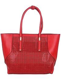 Fur Jaden Red Women's Laser Cut Oversized Tote Bag With Zip