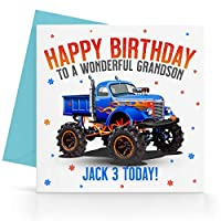 Personalised Boys Monster Truck Birthday Card Any Age, Relative & Message