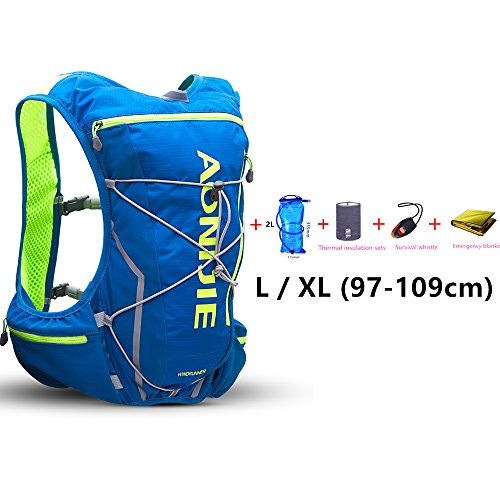 Imagen de aonijie 10l ligero resistente al agua  de esquí  de running marathon ciclismo bolsas running chaleco eléctrica bolsa de deporte + 2l hidratación bolsa de agua azul l/xl