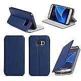 Etui luxe Samsung Galaxy S7 EDGE 4G bleu Ultra Slim Cuir Style avec stand - Housse coque de protection Samsung Galaxy S7 EDGE Dual SIM bleue à écran incurvé - Prix découverte accessoires pochette XEPTIO case !