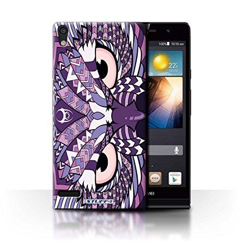 Stuff4® Hülle/Hülle für Huawei Ascend P6 3G / Eule-Lila Muster/Aztec Tier Muster Kollektion