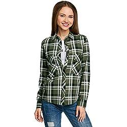 oodji Ultra Mujer Camisa de Algodón con Bolsillos en el Pecho, Verde, ES 36 / XS