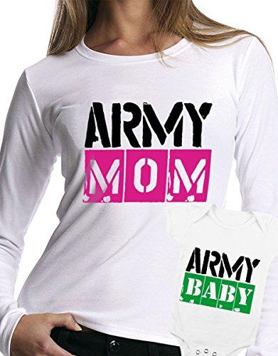 t-shirt manica lunga e body festa della mamma - Army mom, army baby, military -tutte le taglie uomo donna maglietta by tshirteria bianco