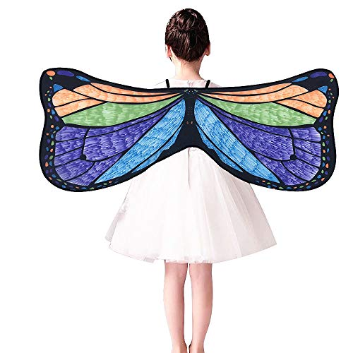 xmansky Neuheit Kind Kinder Jungen MäDchen Chiffon Bohemian Butterfly Print Schal KostüM ZubehöR Butterfly Wings SchmetterlingsflüGel Schals Strap Butterfly Schal Mit ()