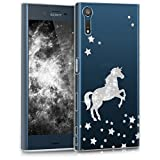 kwmobile Hülle für Sony Xperia XZ / XZs - TPU Silikon Backcover Case Handy Schutzhülle - Cover klar Einhorn Design Silber Transparent