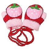 CHIC-CHIC baby Handschuhe Kinder Winter weich warm Säuglinge Cartoon süß Fleece Fäustlinge (Erdbeere)