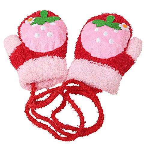 CHIC-CHIC baby Handschuhe Kinder Winter weich warm Säuglinge Cartoon süß Fleece Fäustlinge (Mit Elf Ohren Mütze)