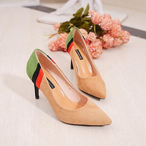 yalanshop Tipa de Zapatos de Tacón Alto con Atrevido Satén de Color Claro, con Salvaje, Color Beige 39