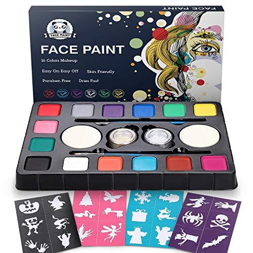 Dookey Kinderschminke Set , Hochwertiges 14 Schminkfarben Face Paint mit 24 Malerschablonen, Ungiftig und Wasserbasiert, Ideal für Kinder Partys (Kinder-paint Kit)