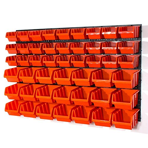 Lager Wandregal Wandplatten Lagerregal, 27 Stapelboxen Orange Gr. 3 POP Serie, 21 Stapelboxen Orange Gr. 4 POP Serie + Organizer