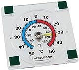 Fackelmann Fensterthermometer TECNO, analoges Außenthermometer, selbstklebendes Thermometer mit Temperaturanzeige -/+50°C (Farbe: Transparent), Menge: 1 Stück