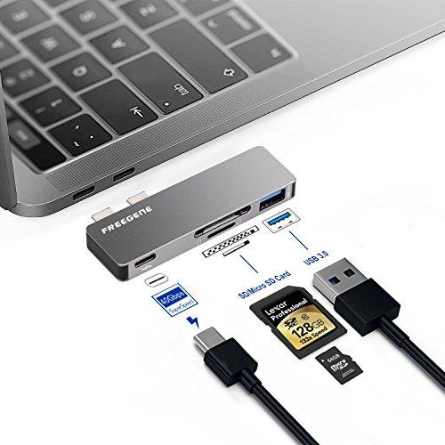 "Preisvergleich Produktbild OneOdio USB C Adapter,  Kompitable mit 2016 / 2017 / 2018 MacBook Pro 13"" und 15"",  Aluminium USB Hub SD / Micro SD Kartenleser Ladeanschluss USB C Adapter USB Verteiler"
