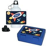Brotdose + Trinkflasche Set mit Namen Marlon und schönem Weltraum-Motiv für Jungs | Frühstücks-Set für Schule und Kindergarten | Aluminium-Trinkflasche | Lunchbox | Vesper-Box