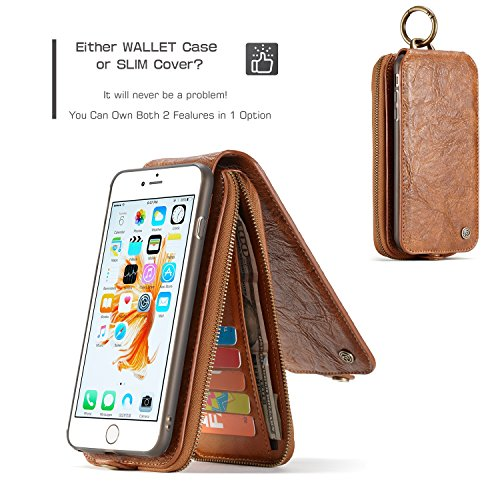 EKINHUI CaseMe Leder Geldbörse mit Magnetic PC + TPU Rückseitige Abdeckung, abnehmbare Folio, Bargeldhalter Zipper Design für iPhone 6S Plus ( Color : Brown ) Brown