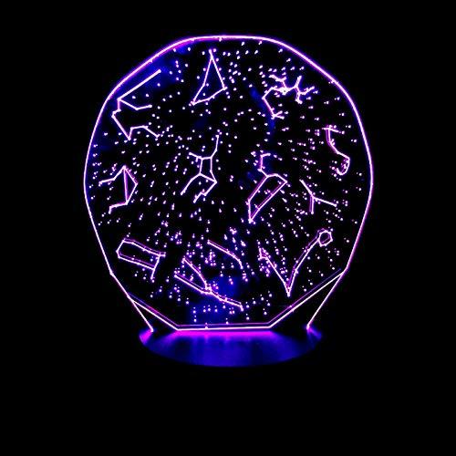 GBBCD Nachtlicht Kreative geschenke leuchtende 3d konstellation set decor vision usb schreibtischlampe lampara led 7 farben ändern baby schlafen nachtlicht fernbedienung - Home Visions-set Bett