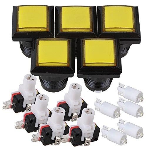 bqlzr-5x-gioco-arcade-console-giallo-quadrato-interruttore-a-pulsante-led-illuminato