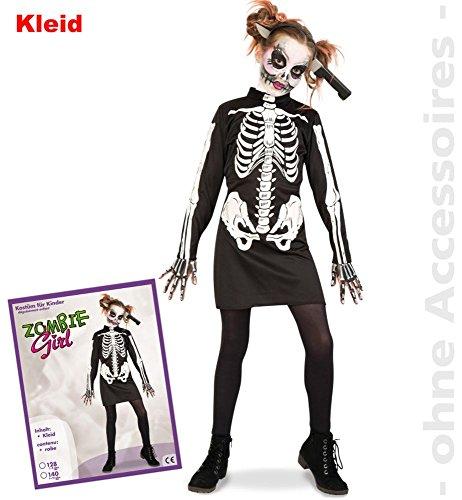 günstiges Kostüm Zombie Girl Halloween für Kinder (128) (Girls Halloween Kostüme Zombie)