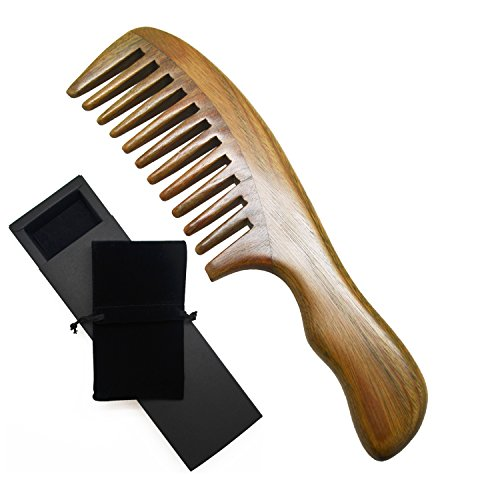 Meta-C Wave Handle Natural Green Sandal Wood Comb (Wide tooth) by Meta-C - Horn Hair Comb