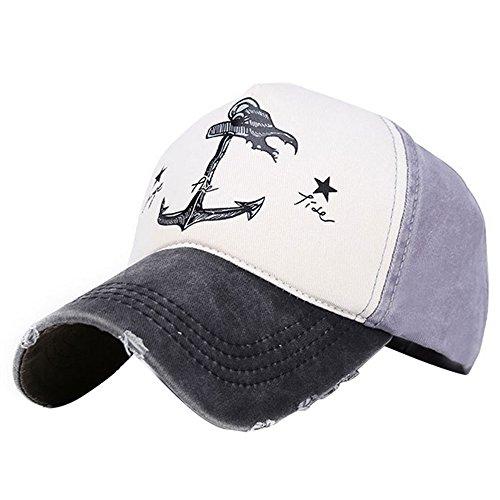 g Piraten Schiffe Anker Gedruckt Verstellbare Unisex Baumwolle Baseball Caps - Herren Damen Hip Hop SnapBack Hüte, Schwarz + Grau (Weibliche Piraten Hüte)