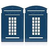 KING DO WAY Paire De Serre-livres Presse-livres Forme Cabine Téléphonique Acier Inox Bibliothèque Rangement Livres Pour Maison Bureau Bookends-Bleu