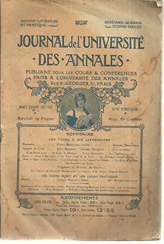 Journal de l'université des annales, publiant tous les cours et conférences faits à l'université des annales
