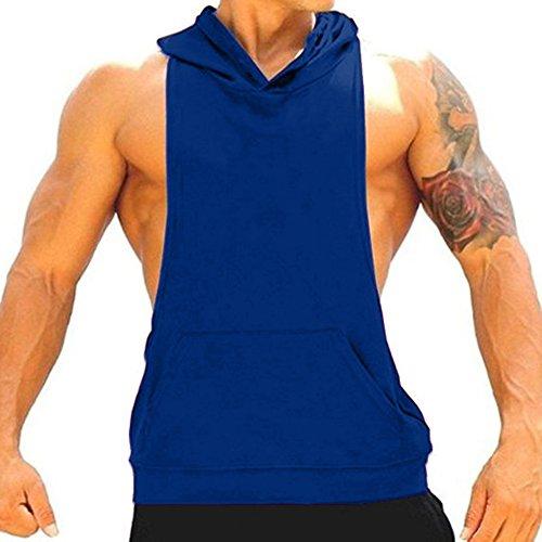 CHIC-CHIC Herren Sport T-Shirt Sweatshirt Hood West Tank Top mit Kapuze Weste Ärmellos Kapuzenshirt Fitness Gym Joggen (Blau, L) (T-shirt Ärmelloses Sweatshirt)