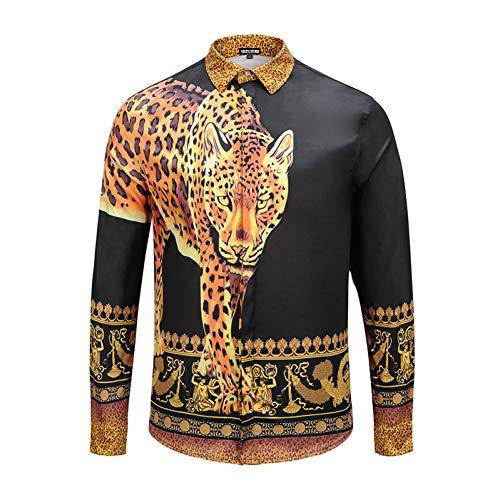 Charakter-jugend-t-shirt (CHENS Langarm/Slim fit/Strand/XXL Kleidung Schwarz Herrenhemd Gedruckt Geld Leopard Crown Western Charaktere Mode Western Jugend Nachtclub Freizeit)