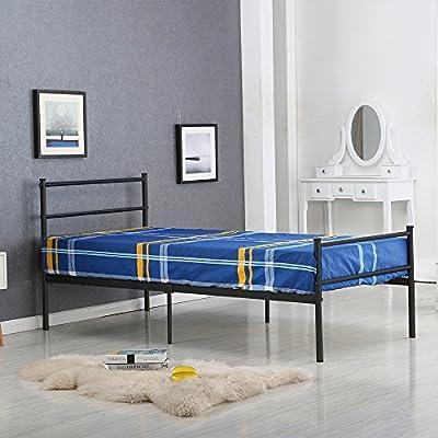 Schindora 3FT Single Metal Bed Frame Sturdy Bedsted Bed Frame for Adult and Children Black - cheap UK light shop.