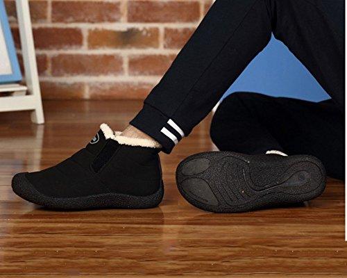 Minetom Uomo Donna Stivali Invernali Scarpe Allineato Pelliccia Caloroso Caviglia Scarpe Neve Inverno Piatto Stivaletti Sportive Boots A nero