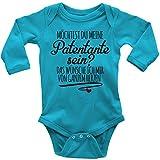 Mikalino Babybody Langarm Möchtest Du Meine Patentante Sein, Farbe:Atoll, Grösse:68
