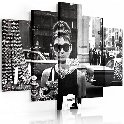 Feeby Frames, Grande Formato Quadro multipannello di 5 pannelli, Quadro su tela, Stampa artistica, Canvas XXL, Tipo A, 120x250 cm, AUDREY HEPBURN, COLAZIONE DA TIFFANY, GLAMOUR, BIANCO E NERO, GIOIELLI