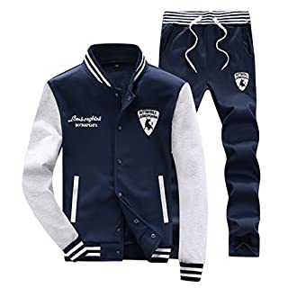 Mens Tracksuit Set Gym Bottoms Top Jogging Joggers Sports Suit Hoodie Jacket Pants Blue S