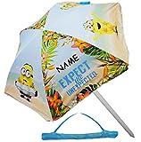 alles-meine.de GmbH Strandschirm / Sonnenschirm -  Minions  - incl. Name - Ø 130 cm - UV-Schutz - UV 50 + / für Kinder - Campingschirm / Kindermöbel - für Mädchen & Jungen - Ki..