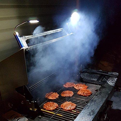 LILUOE Luci magnetiche per Barbecue 2 Pezzi (Include 6 batterie alcaline AAA Colore Nero
