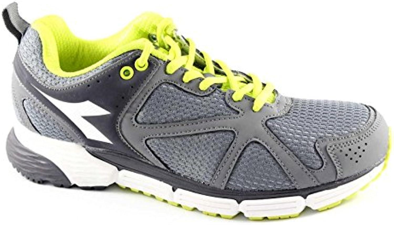Diadora 158.945 Acción Gris Zapatos Verdes Fluorescentes Hombre Corriendo Zapatillas Deportivas
