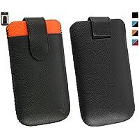 Emartbuy® Genuine Calfskin Cuero Negro / Naranja Deslice la bolsa funda manga (Tamaño 3XL) con ranura de tarjeta de crédito y Pull Tab mecanismo conveniente para Jiayu G4 / Jiayu G4c / Jiayu G4s