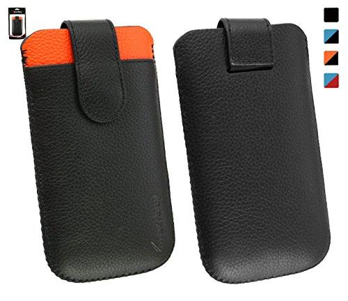 Emartbuy® Genuine Calfskin Leder Schwarz/Orange In Hülle Case/Tasche Hülle schieben (Größe 3XL) mit CRotit Card Slot & Pull Tab Mechanismus für geeignet Jiayu F1