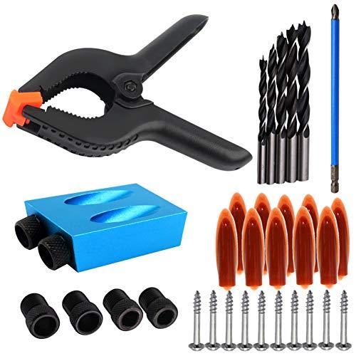 IsEasy 34PCs Doppel Pocket Loch Jig Kit Set,15 ° Bit Winkelantriebsadapter mit 6inch Federklemme, für Holzbearbeitung Winkel Bohren Löcher Guide Holz Werkzeuge Doweling Lochsäge -