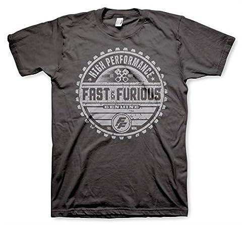 Officiellement Sous Licence Fast & The Furious Genuine Brand Hommes T-Shirt (Gris Foncé), Medium