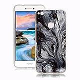 Coque Huawei P8 Lite 2017 Marbre, Yunbaozi Désign Marbre Housse Doux Caoutchouc Silicone Soft Marble Case Texture de Pierre Naturelle Étui Flexible Lisse Anti-Rayures Motif de Granit Coque pour Huawei P8 Lite 2017 - Motif de l'arbre