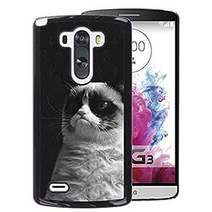 Planetar® ( Grumpy Cat Black White Siamese Whiskers ) LG G3 / D855 / D850 / D851/ D852 Coque De Protection Rigide Pour Cas Case